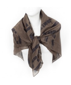 Tom Tailor Dark Green and Black Printed Cotton Women's Scarf 102 x 102 cm