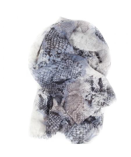 Morgan De Toi Grey Blue Snake Print Women's scarf 70 x 188 cm