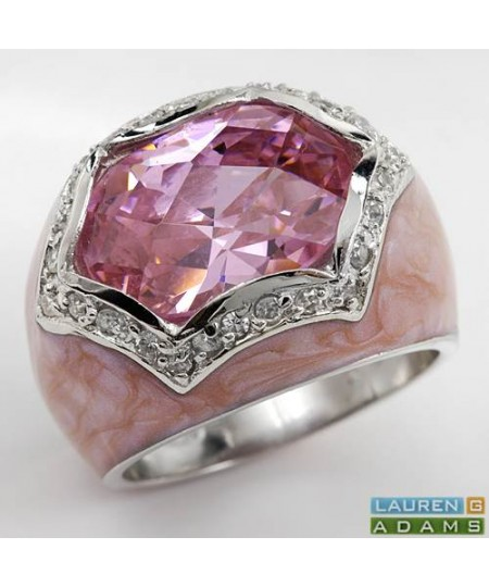 LAUREN G. ADAMS Cubic zirconia Ring in Pink Enamel and 925 Sterling silver