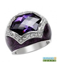 LAUREN G. ADAMS Ring With Cubic zirconia in Purple Enamel and 925 Sterling silver