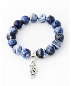 Handmade Bracelet with 17 Sodalite stones with sea horse pendant