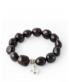 Handmade Bracelet with 15 Garnet stone with elefant pendant