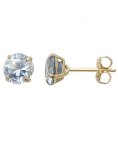 9ct Gold Aquamarine March Birthstone Stud Earrings