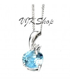 9ct White Gold blue topaz and diamond pendant 10mm