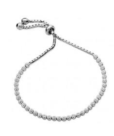 Sterling Silver Rubover Cubic Zirconia Bracelet