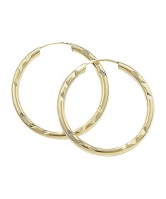 9CT Gold 22 mm Diamond-Cut Hoop Earrings