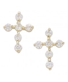 9ct Gold Cubic Zirconia Cross Earrings
