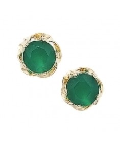 9CT Gold Agate Round Stud Earrings