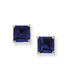 9CT Gold Blue Square Stud Earrings