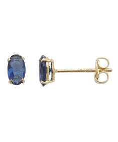 9CT Gold Blue CZ Oval Shaped Stud Earrings