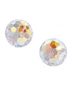 9ct Gold Crystal Round Stud Earrings