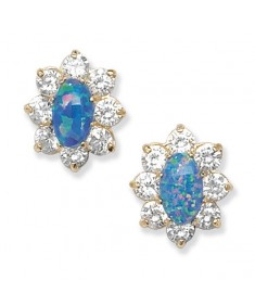 9ct Gold Blue Opal and Clear CZ Stud Earrings