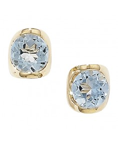 9ct Gold Blue Topaz Stud Earrings 5mm