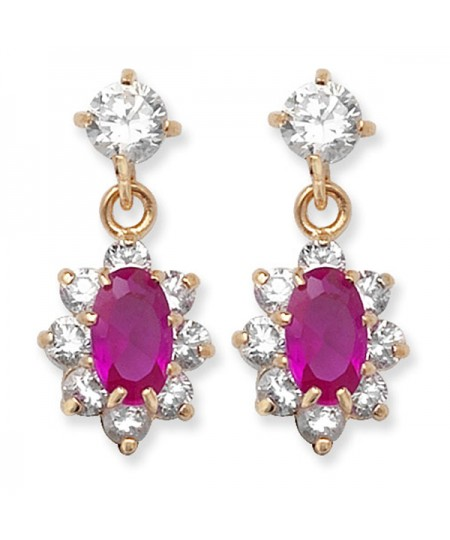 9ct Gold Clear CZ and Ruby Drop Earrings
