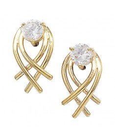 9ct Gold Clear Cubic Zirconia Crossover Studs Earrings