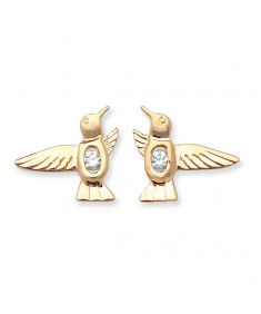 9ct Gold Clear Cubic Zirconia Birds Earrings