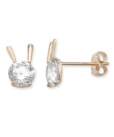 9ct Gold Clear Cubic Zirconia Fancy Studs Earrings