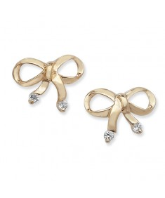 9ct Gold Cubic Zirconia Bow Style Studs Earrings