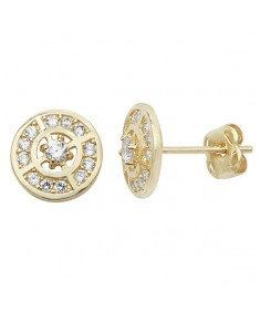 9ct Gold Cubic Zirconia Circle Stud Earrings