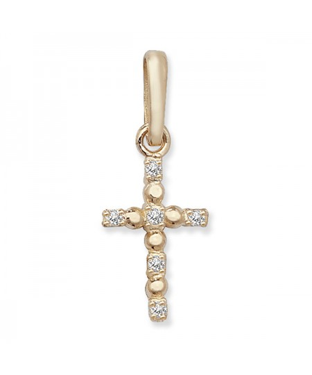 9ct Gold Cubic Zirconia Cross Pendant