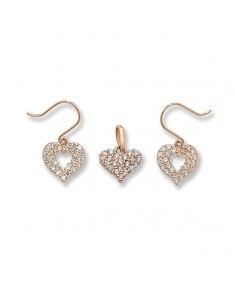 9ct Gold Earrings and Pendant Heart Set