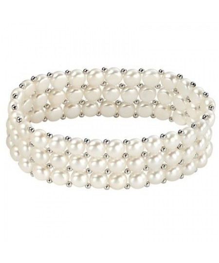 Elements Sterling Silver Three Strand Small Freshwater Pearl Stretch Bracelet