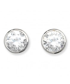 9CT White Gold Rubover Cubic Zirconia Stud Earrings