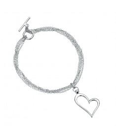 Open Heart Mlti Chain T-Bar Bracelet
