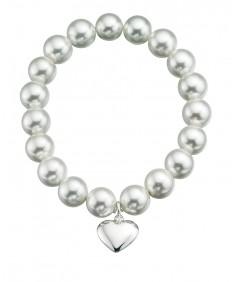 White Shell Pearl Heart Strtch Bracelet