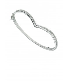Channel set CZ wishbone bangle