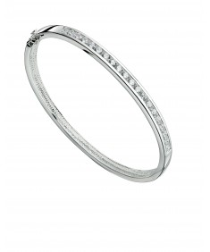 Channel set round CZ bangle