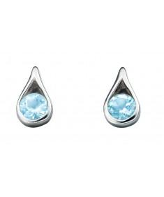 Sterling Silver Light Blue Topaz Teardrop Earrings