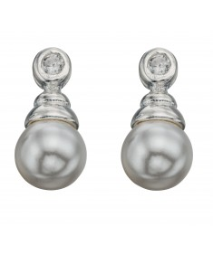 White Syntetic Pearl & Clear Cz Drop Earrings