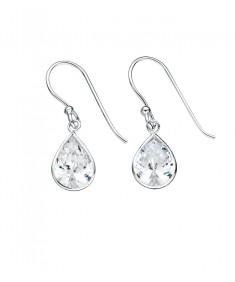 Clear Cz Teardrop Drop Earrings