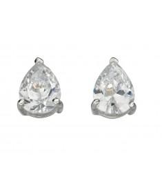 Clear Cz Teardrop Stud Earrings
