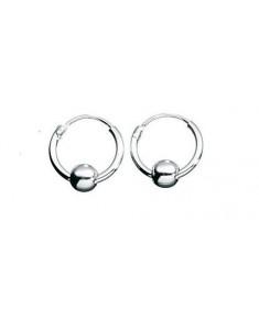 925 Sterling Silver Hoop Earrings with ball 10 mm