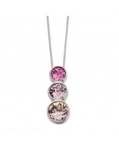 Sterling Silver Triple Rubover Swarovski Pendant Rose, Light Amethyst And Vintage Rose Colour