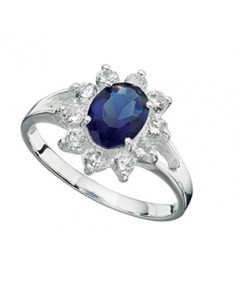 Blue/Clear Cz Ring