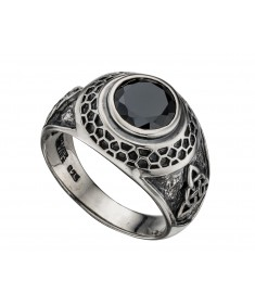 Black Cz Oxidised College Ring