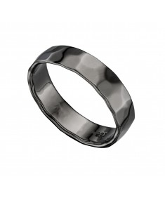 Hematite Hammered Band Ring