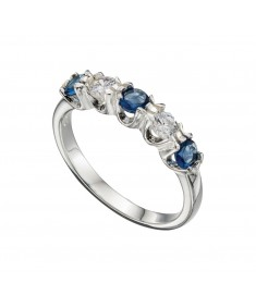 Blue Glass & Clear 5 Stone Eternity Ring
