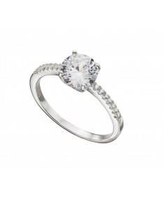 Cz Ring With Pave Knife Edge Shank
