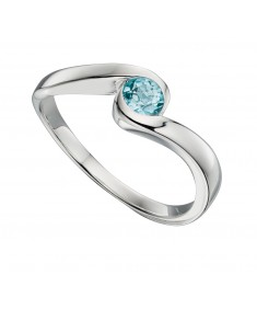 Blu Topaz Swirl Centre Ring