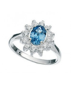 Lt Blu/Clear Cz Claw Set Ring