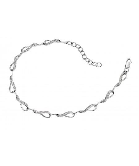 9ct white gold interlocking loop bracelet with pave set diamonds