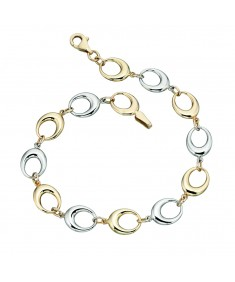 Yellow and White Gold Cut out Oval link Bracelet