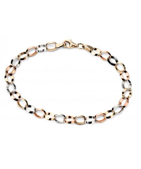 3 colour flat link bracelet
