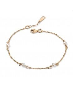 9ct Yellow Gold Twist Chain Pearl Bracelet