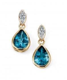 9ct Yellow Gold diamond and London blue topaz drop earrings