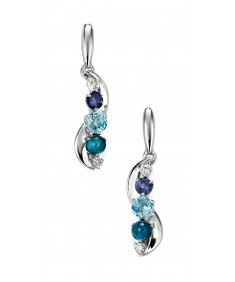 9ct White Gold, diamond, iolite, Swiss blue topaz and London blue topaz wave earring
